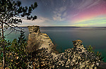 Moonlit Miner's Castle and aurora