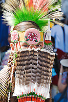Phillip Myers, a member of the Oklahoma Commanche tribe, in full regalia for the Native American costume contest, held each year on the Santa Fe plaze duing July's Santa Fe Indian Market