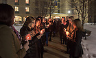 Mar. 4, 2015; Residents of Lewis Hall gather outside their dorm at 3am for a candlelight procession to the Basilica for the visitation of President Emeritus Rev. Theodore M. Hesburgh, C.S.C. (Photo by Matt Cashore/University of Notre Dame)