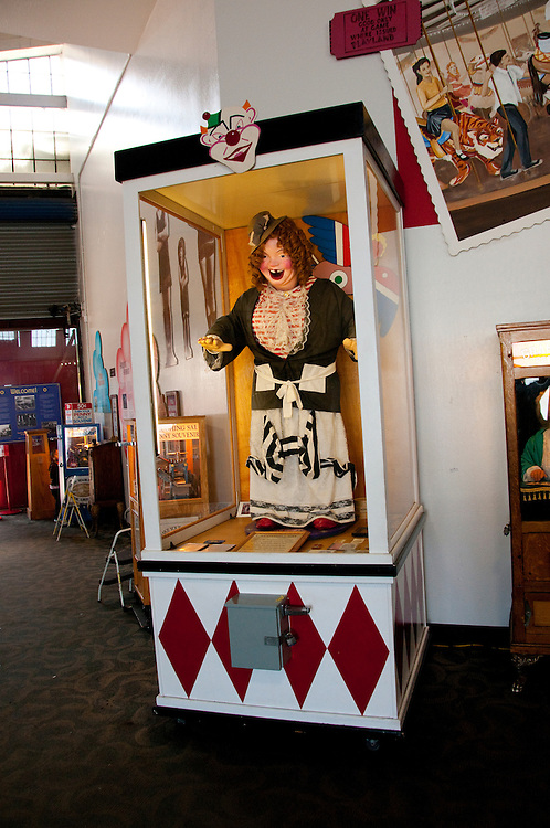 San Francisco: Musee Mechanique, coin operated mechanized arcade games,such as Laughing Sal from Playland,  Pier 39, Fisherman's Wharf.  Photo copyright Lee Foster. Photo # casanf104200