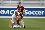 10 November 2013: Virginia Tech's Ashley Manning (12) and Florida State's Kristin Grubka (13). The Florida State University Seminoles played the Virginia Tech Hokies at WakeMed Stadium in Cary, North Carolina in a 2013 NCAA Division I Women's Soccer match and the championship game of the Atlantic Coast Conference tournament. Florida State won the game 1-0.