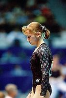 July 22, 1998; New York, NY, USA;  Artistic gymnast Olga Teslenko of Ukraine prepares to perform on balance beam at 1998 Goodwill Games New York. Copyright 1998 Tom Theobald