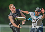 26 May 2015: The Vermont Commons School Flying Turtles Ultimate Disk Varsity Team plays BFA Fairfax High School at Farrell Park in South Burlington, Vermont. Mandatory Credit: Ed Wolfstein Photo *** RAW (NEF) Image File Available ***