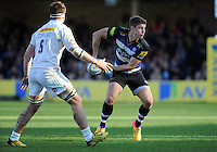 Ollie Devoto of Bath Rugby looks to pass the ball. Aviva Premiership match, between Bath Rugby and Harlequins on October 31, 2015 at the Recreation Ground in Bath, England. Photo by: Alex Davidson / JMP for Onside Images