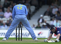 09/07/2002 - Tue.Sport - Cricket-  NatWest Series - Eng vs India Oval.England batting  Andrew Flintoff gets home umpires decision 'Not out' Yuvraj Singh the fielder...