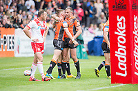 Picture by Allan McKenzie/SWpix.com - 13/05/2017 - Rugby League - Ladbrokes Challenge Cup - Castleford Tigers v St Helens - The Mend A Hose Jungle, Castleford, England - Andy Lynch congratulates Greg Minikin on his try.