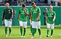 FUSSBALL   DFB POKAL   SAISON 2011/2012  1. Hauptrunde FC Heidenheim - Werder Bremen              30.07.2011 Enttaeuschung bei Mehmet Ekici , Marko Arnautovic , Marko Marin (v. li., SV Werder Bremen)