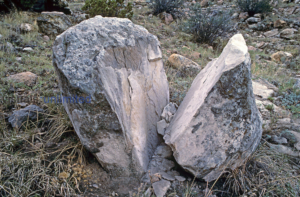 Frost-wedging or ice-wedging of alpine rocks due to the expansion and contraction of water in cracks.
