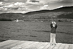 Toddler boy expressing 'so big'. Blue Mountain Lake, NY. The Hedges Resort. 1975