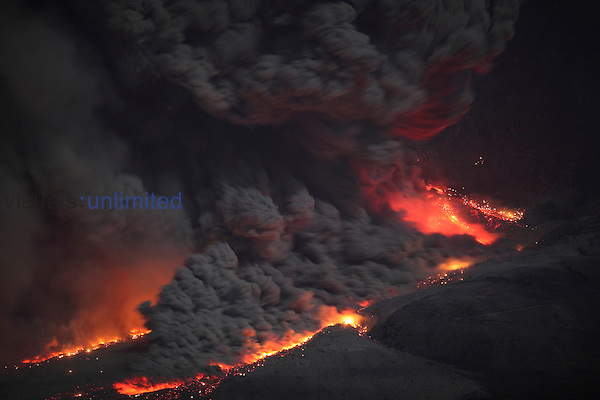 Dome collapse at erupting Sinabung Volcano causing large incandescent pyroclastic flows, Sunatra, Indonesia