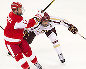 Evan Rodrigues (BU - 17), Patrick Wey (BC - 6) - The Boston College Eagles defeated the visiting Boston University Terriers 5-2 on Saturday, December 1, 2012, at Kelley Rink in Conte Forum in Chestnut Hill, Massachusetts.