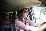 Sharon Ferrell drives her children home in Lincoln, CA  May 13, 2009.