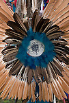 Close up of Fancy dancer bustle regalia of Richard (Duke of Sandyhook) Simmons, Seneca and Iroquois Native American, with Turtle Nation bead work in the center.  <br />