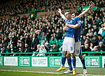 Celtic v St Johnstone...23.01.16   SPFL  Celtic Park, Glasgow<br /> Steven MacLean celebrates his goal with Graham Cummins<br /> Picture by Graeme Hart.<br /> Copyright Perthshire Picture Agency<br /> Tel: 01738 623350  Mobile: 07990 594431
