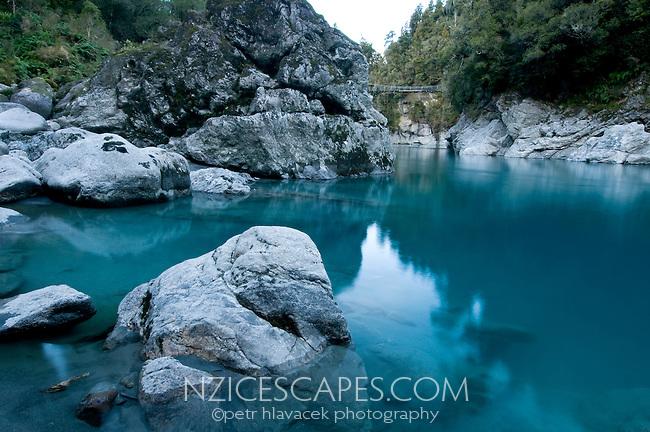 Dark blue colours of the Hokitika River in the famous Hokitika Gorge - South Westland, New Zealand