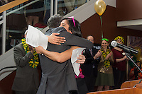 Tyler Stewart and Shetal Patel. Photo by Raj Chawla / UVM Medical Photography Match Day, class of 2013.