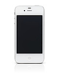 White iPhone 4s Apple smartphone with blank screen. Isolated on white background with clipping path.