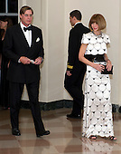 Anna Wintour, Editor-in-Chief, Vogue Magazine, and Shelby Bryan arrive for the Official Dinner in honor of Prime Minister David Cameron of Great Britain and his wife, Samantha, at the White House in Washington, D.C. on Tuesday, March 14, 2012..Credit: Ron Sachs / CNP.(RESTRICTION: NO New York or New Jersey Newspapers or newspapers within a 75 mile radius of New York City)