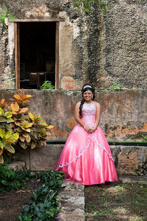 Quincañera photo shoot at the Hacienda San Pedro Ochil. Yucatan, Mexico