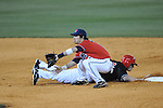 Ole Miss' Blake Newalu (6) takes the throw as Austin Peay's Cody Hudson (22) is safe on a pick-off attempt at Oxford-University Stadium in Oxford, Miss. on Wednesday, March 2, 2010.