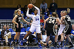 22 November 2015: Duke's Lynee Belton (34) grabs a rebound. The Duke University Blue Devils hosted the United States Military Academy at West Point Army Black Knights at Cameron Indoor Stadium in Durham, North Carolina in a 2015-16 NCAA Women's Basketball Exhibition game. Duke won the game 72-61.