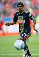 Philadelphia Union defender Sheanon Williams #25 in action during an MLS game between the Philadelphia Union and the Toronto FC at BMO Field in Toronto on May 28, 2011..The Philadelphia Union won 6-2..