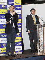 ***NO FEE PIC*** 28/01/2011 Ryanair CEO Michael O' Leary & Travel Extra Editor Eoghan Corry at the Travel Clinic during the Holiday World Show in the RDS, Dublin. Photo: Gareth Chaney Collins