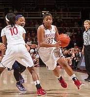 STANFORD, CA - JANUARY 16, 2015--<br /> Stanford&rsquo;s Amber Orrange, drives to ball down the court during the Arizona game at Maple Pavilion.