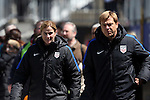 10 April 2016: U.S. head coach Jill Ellis (ENG) (left) with assistant Tony Gustafsson (SWE) (right). The United States Women's National Team played the Colombia Women's National Team at Talen Energy Stadium in Chester, Pennsylvania in an women's international friendly soccer game. The U.S. won the match 3-0.