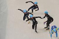 OLYMPICS: SOCHI: Iceberg Skating Palace, 13-02-2014, Shorttrack, 5000m Relay Men, Semifinals, Ho-Suk Lee (#241 | KOR), Eduardo Alvarez (#256 | USA), J.R. Celski (#258 | USA), ©photo Martin de Jong