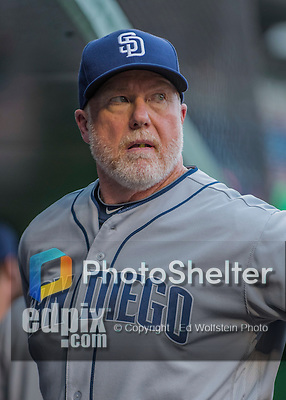23 July 2016: San Diego Padres bench coach Mark McGwire stands in the dugout prior to a game against the Washington Nationals at Nationals Park in Washington, DC. The Nationals defeated the Padres 3-2 to tie their series at one game apiece. Mandatory Credit: Ed Wolfstein Photo *** RAW (NEF) Image File Available ***