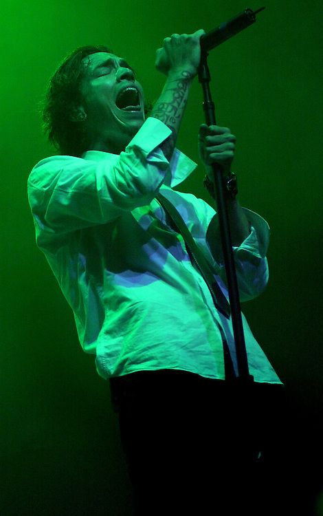 Brandon Boyd, lead singer of Incubus, rocks on stage at the Great Western Forum, Thursday night in Inglewood.