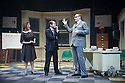 Colchester, Essex, UK. 25.10.2013. THE OPINION MAKERS musical, by Brian Mitchell & Joseph Nixon, premieres at Colchester Mercury Theatre. In the cast are Mel Giedroyc, David Mounfield, Daniel Boys, Julie Atherton, Justin Edwards, Ben Stratton and Stacey Ghent. It is directed by Mercury Artistic Director Daniel Buckroyd, with design by Sara Perks, lighting by Philip Gladwell, and sound by Tom Lishman. Picture shows: Mel Giedroyc (Lassiter), Daniel Boys (Penhall) and Justin Edwards (Fernsby). Photograph © Jane Hobson.