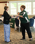 Breanna Sisler, Associate Director for Communication for the Office of Undergraduate Admissions,  The Campus Communicator Network Expo in Nelson Commons on Wednesday, May 11, 2016. © Ohio University / Photo by Kaitlin Owens
