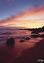 Lake Tahoe Scenic Sunset Shoreline with waves