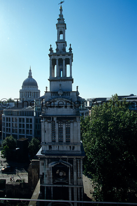 The bell tower of Christchurch Tower built by Sir Christopher Wren and restored by Seely & Paget in the 1950s