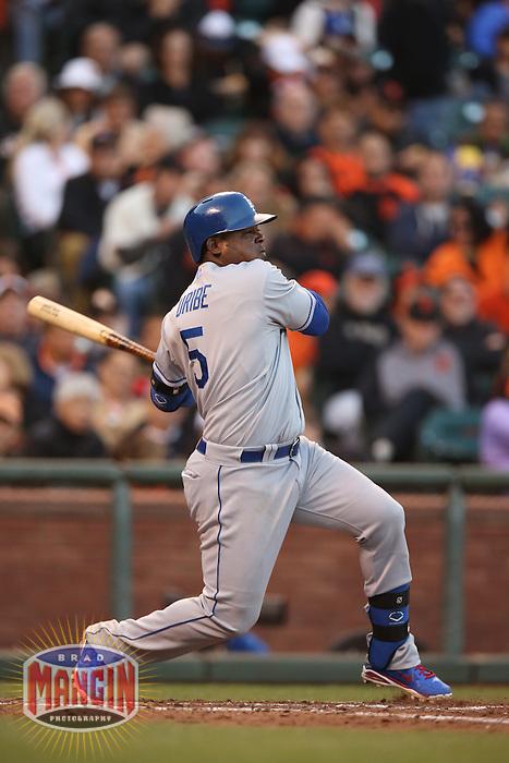 SAN FRANCISCO, CA - MAY 4:  Juan Uribe #5 of the Los Angeles Dodgers bats against the San Francisco Giants during the game at AT&T Park on Saturday, May 4, 2013 in San Francisco, California. Photo by Brad Mangin
