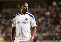 Edson Buddle forward of the LA Galaxy waiting for play to restart. The Colorado Rapids defeated the LA Galaxy 3-1 at Home Depot Center stadium in Carson, California on Saturday October 16, 2010.