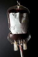 Centro donatori sangue della Croce Rossa Italiana. Blood donor center of the Italian Red Cross.Sacche per trasfusioni. Blood transfusion bags....