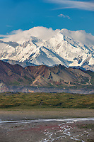 North and South summits of Mt McKinley with the Thorofare river in the foreground, Denali National Park, interior, Alaska.