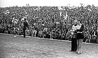 Big turn-out of N Ireland supporters at Windsor Park for the match against Iceland on 21st September 1977. 197709210179k<br /> <br /> Copyright Image from Victor Patterson, 54 Dorchester Park, Belfast, UK, BT9 6RJ<br /> <br /> t1: +44 28 9066 1296 (from Rep of Ireland 048 9066 1296)<br /> t2: +44 28 9002 2446 (from Rep of Ireland 048 9002 2446)<br /> m: +44 7802 353836<br /> <br /> e1: victorpatterson@me.com<br /> e2: victorpatterson@gmail.com<br /> <br /> The use of my copyright images is subject to my Terms &amp; Conditions.<br /> <br /> It is IMPORTANT that you familiarise yourself with them. They are available on my website at www.victorpatterson.com.<br /> <br /> None of my copyright images may be used on a website unless they are visibly watermarked, i.e. &copy; Victor Patterson within the body of the visible image. Metadata denoting my copyright must NOT be deleted. <br /> <br /> Web use is extra at currently recommended NUJ rates.