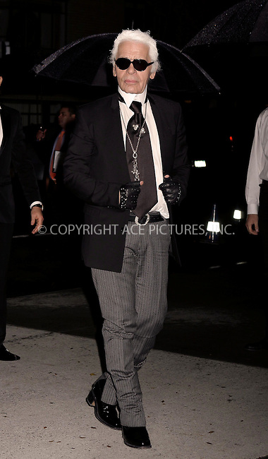 WWW.ACEPIXS.COM . . . . .  ....November 15 2011, New York City....Karl Lagerfeld arriving at the Museum of Modern Art's 4th Annual Film benefit 'A Tribute to Pedro Almodovar' at the Museum of Modern Art on November 15, 2011 in New York City.....Please byline: NANCY RIVERA- ACEPIXS.COM.... *** ***..Ace Pictures, Inc:  ..Tel: 646 769 0430..e-mail: info@acepixs.com..web: http://www.acepixs.com