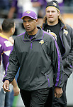 Minnesota Vikings Head Coach Leslie Frazier comes onto the field before their game against the Seattle Seahawks at CenturyLink Field in Seattle, Washington on  November 4, 2012.     ©2012. Jim Bryant Photo. All Rights Reserved.