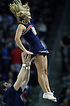 Gonzaga cheer squad performs during a time out against Iowa during the 2015 NCAA Division I Men's Basketball Championship's March 22, 2015 at the Key Arena in Seattle, Washington.   Gonzaga beat Iowa 87-67 to advance to the Sweet 16.    ©2015. Jim Bryant Photo. ALL RIGHTS RESERVED.