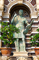 Statue of Orpheus. The Organ fountain, 1566, housing organ pipies driven by air from the fountains. Villa d'Este, Tivoli, Italy - Unesco World Heritage Site.