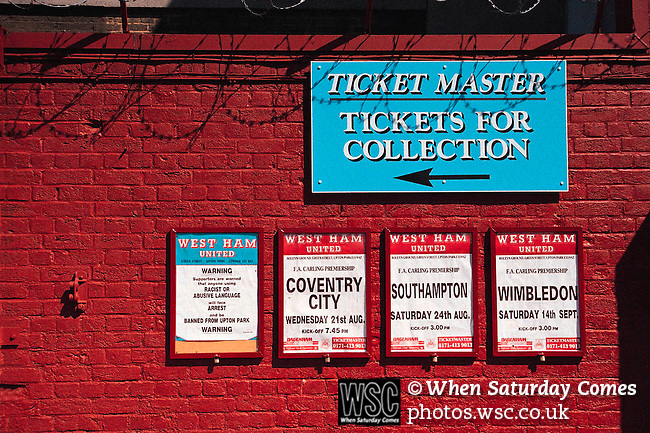 West Ham Utd, c1998. Premier league, Upton Park. Sign showing 'tickets for collection' for forthcoming fixtures.<br /> (Exact date tbc). Photo by Tony Davis