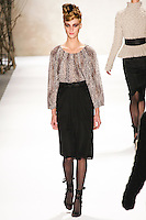 Lindsay Lullman walks runway in a Monique Lhuillier Fall 2011 outfit, during Mercedes-Benz Fashion Week Fall 2011.