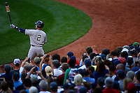 Derek Jeter #2 of the New York Yankees stands in the on deck circle in the first inning prior to his first at bat against the Boston Red Sox at Fenway Park in his final career game on September 27, 2014 in Boston, Massachusetts. (Photo by Jared Wickerham for the New York Daily News)