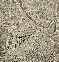 historical aerial photograph Houston, Texas, 1962