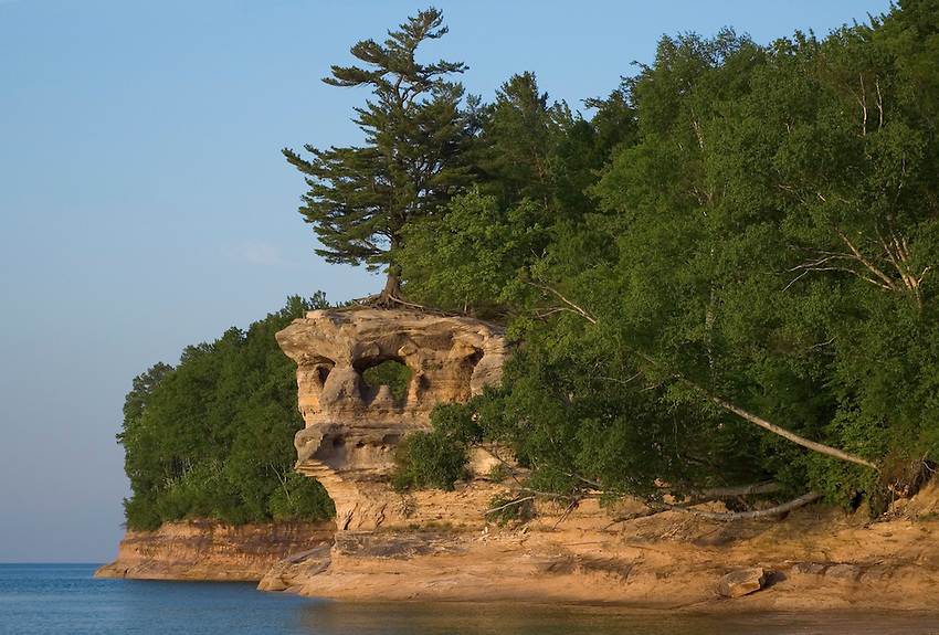 The Chapel Rock rock formation at Chapel Beach in Pictured Rocks National Lakeshore near Munising, Michigan.